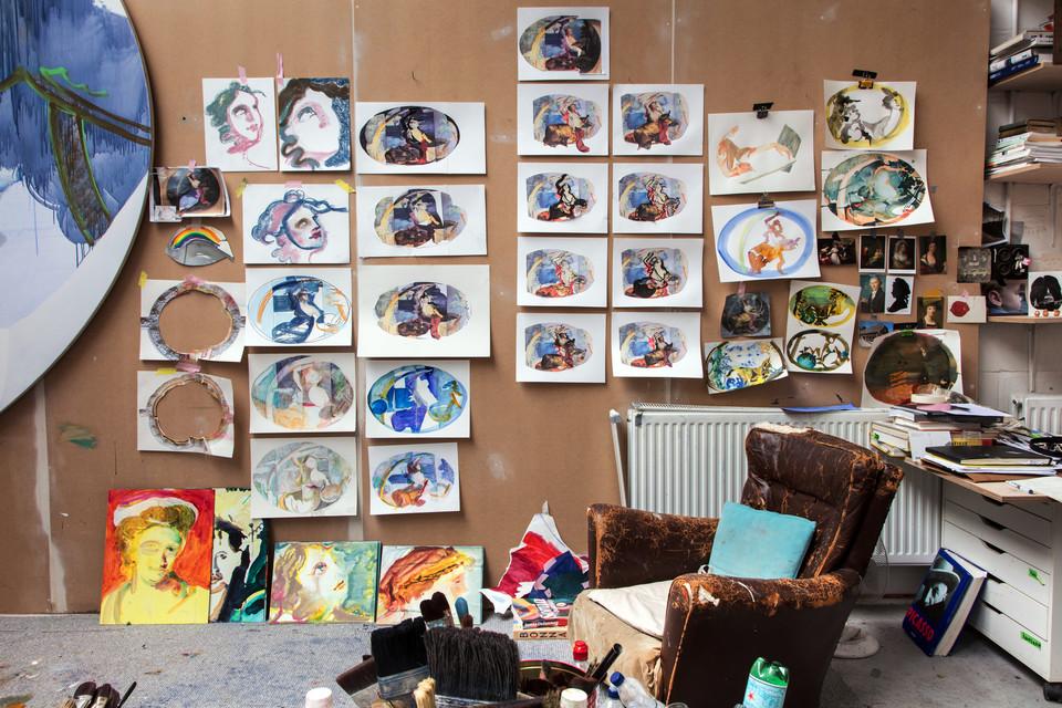 Work in progress, studio wall